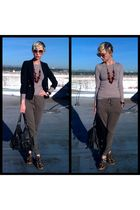 green Forever 21 pants - beige Misc shirt - black thrifted blazer - brown coach