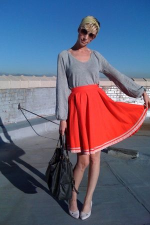 red thrifted skirt - gray thrifted shirt - pink thrifted shoes - yellow gifted s