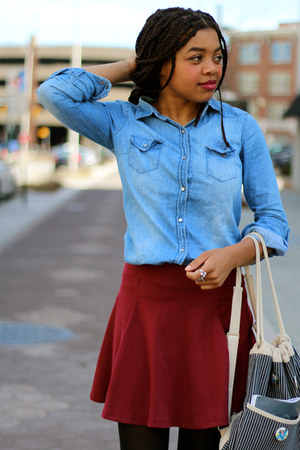 maroon H&M skirt - dark brown thirfted boots