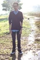 Levis 595 jeans - Topman shirt - H&M jumper - Vans halfcab sneakers
