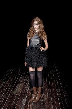 silver Haleh Nematzadeh top - black Haleh Nematzadeh skirt