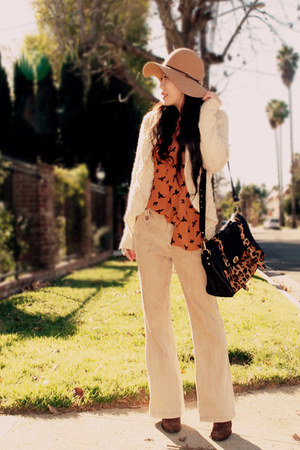 vintage boots - vintage sweater - asos bag - vintage pants - asos blouse