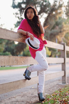 silver Miu Miu clogs - hot pink thrifted vintage jumper