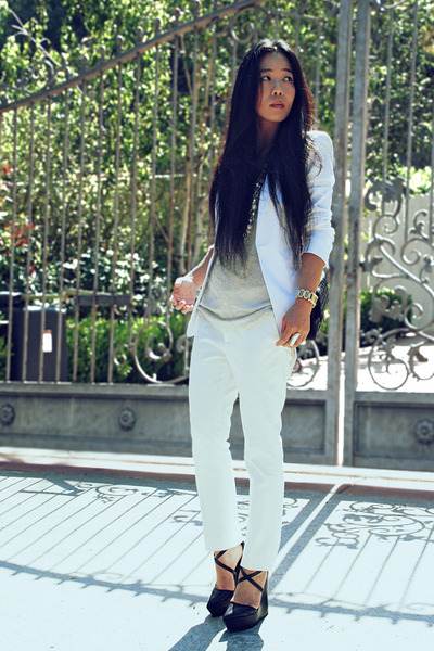 white Express blazer - Zara pants - black TheySkens Theory wedges