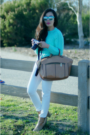 Zara bag - acne boots - JCrew jeans - asos sweater
