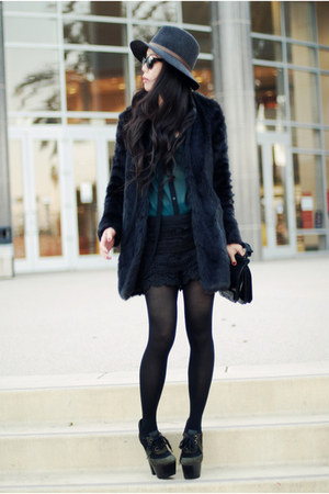 faux fur Zara coat - Burberry boots - Rag and Bone hat - lace Lulus shorts
