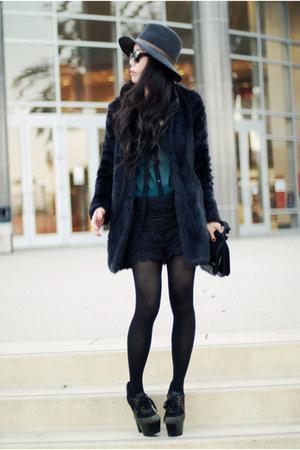 faux fur Zara coat - Burberry boots - Rag and Bone hat - lace Lulus shorts