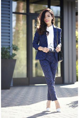blue jacquard blazer - blue jacquard pants