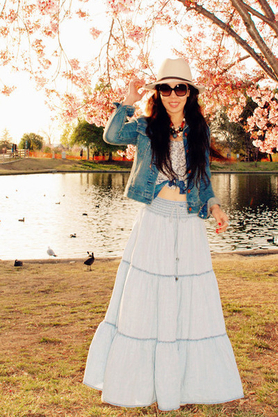 denim jacket Levis jacket - Chanel sunglasses - Zara top - H&M necklace - H&M sk