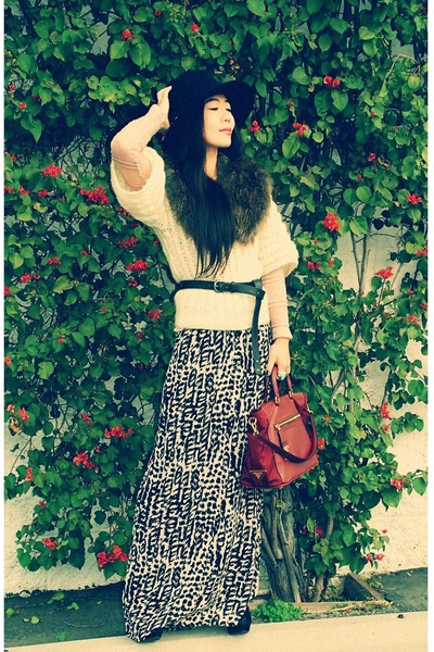 cape thrifted vintage sweater - H&M scarf - Prada bag - maxi H&M skirt - asos be