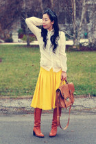 vintage boots - vintage coat - vintage blouse - yellow thrifted skirt - headband