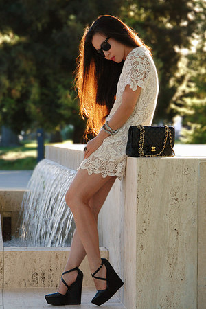 white lace romwe dress - black TheySkens Theory wedges