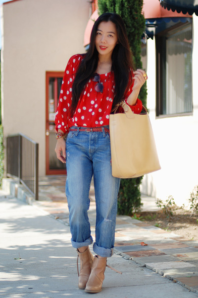 red polka dot H&amp;M blouse - neutral acne boots - Levis jeans - neutral Zara bag