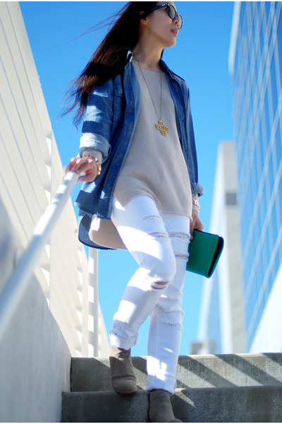 BDG jeans - DV by dolce vita boots - Joie sweater - J Crew shirt