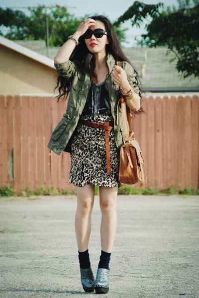 tawny H&M skirt - army green H&M jacket - tawny asos bag - silver Miu Miu clogs