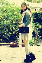 Chanel bag - wedges Bamboo boots - denim Esprit jacket - La Rok skirt