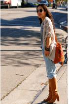 Rebecca Taylor sweater - Zara - Gucci bag - old boots - YSL accessories - bracel