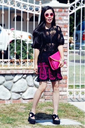 black lace Nanette Lepore blouse - hot pink asos bag