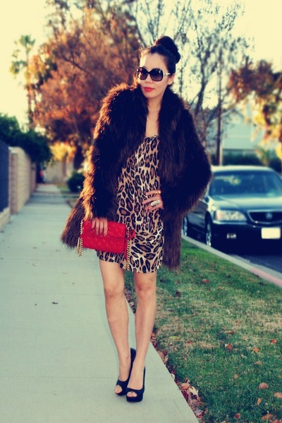faux fur asos coat - Dolce Vita shoes - leopard Zara dress - red Marc Jacobs bag