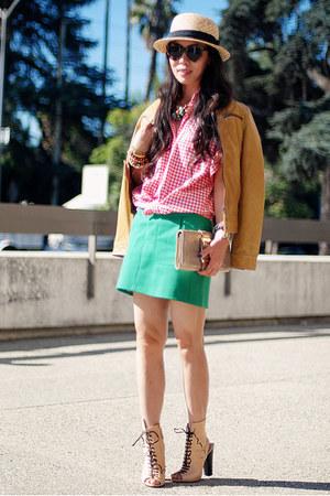 nude Giuseppe Zanotti boots - H&M hat - mustard Esprit jacket