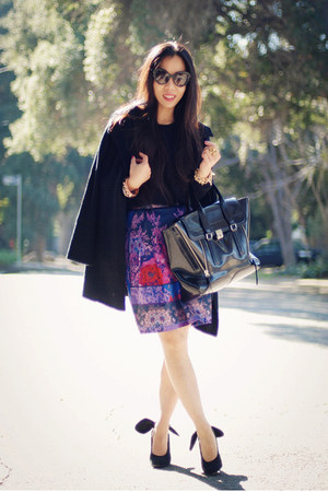 Oasis skirt - H&amp;M sweater - 31 Phillip Lim bag - Prada sunglasses - Carven heels