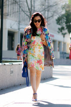 floral asos dress - floral asos coat - Zara heels