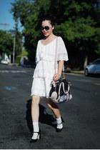 black Miu Miu shoes - white H&M dress - light pink Miu Miu bag