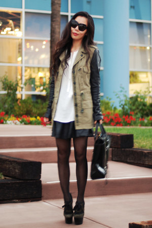 Zara jacket - 31 Phillip Lim bag - Zara skirt - Burberry Prorsum wedges