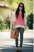 tawny asos bag - Emillo Pucci sunglasses - bronze Zara heels - army green cargo