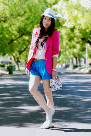 white oxfords Dolce Vita shoes - white Zara hat - hot pink Zara blazer - thrifte
