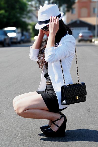 white Lids hat - white Express blazer - black H&M shorts - black silk tank from