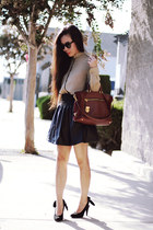 Carven heels - Prada bag - Zara skirt - Zara blouse