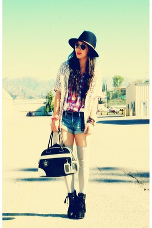 Dolce Vita boots - Zara shirt - vintage bag - a&f shorts - free people socks - R