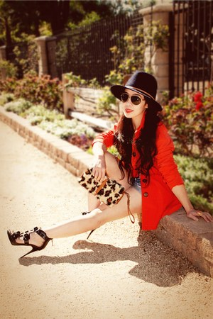 H&M jacket - Bakers bag - denim a&f shorts - Burberry heels