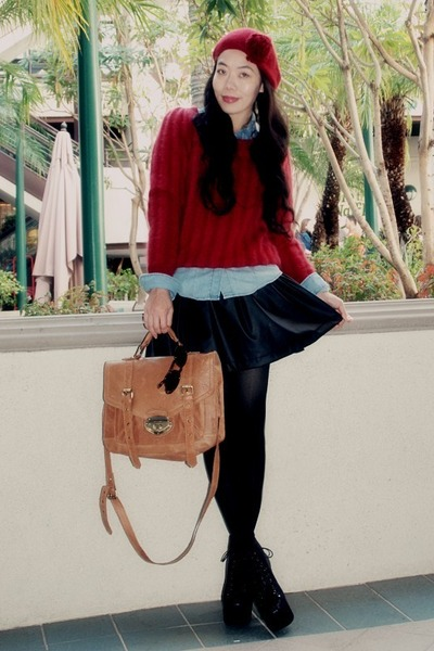 H&M sweater - Zara blouse - Zara skirt - H&M hat - asos bag - Jeffrey Campbell b
