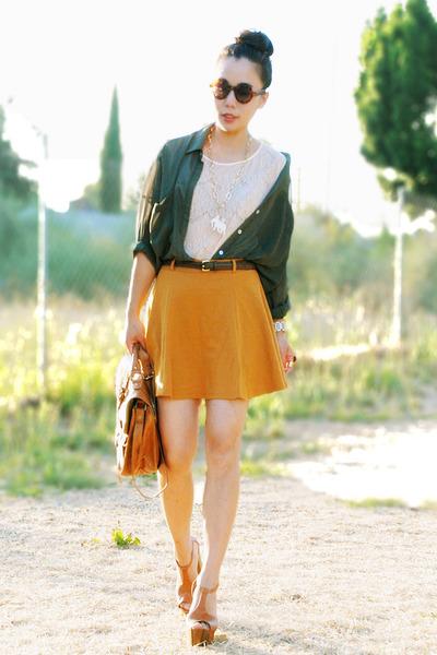 tawny Jessica Simpson heels - dark green American Apparel blouse