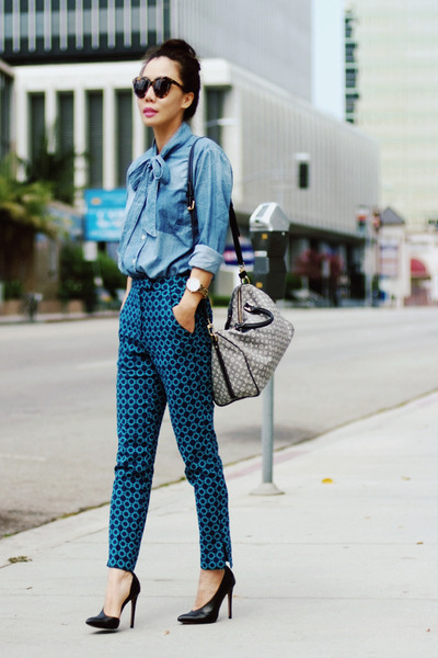 asos pants - denim Shine shirt - Louis Vuitton bag - Zara pumps - Guess watch