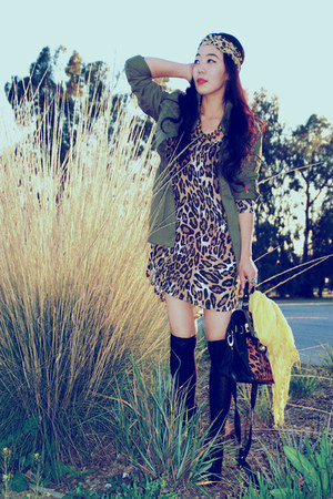 asos bag - Dolce Vita boots - animal print Zara dress - parka H&amp;M jacket