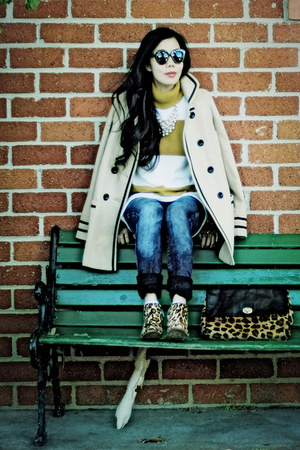 River Island coat - sam edelman boots - madewell sweater - asos bag