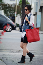 black H&M boots - red Zara bag - white Zara blouse - denim I heart ronson vest -