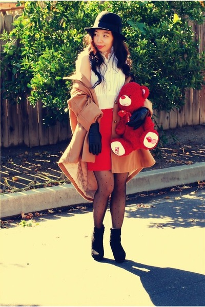 red Zara skirt - wedges Bamboo boots - camel H&amp;M coat