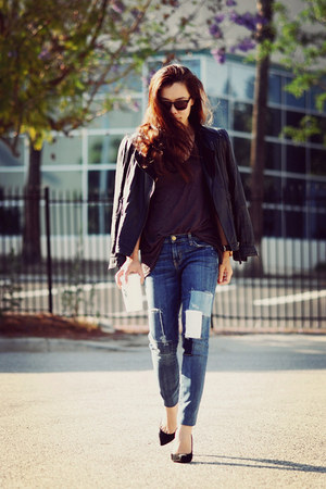 leather Zara jacket - Current Elliott jeans - Gucci heels