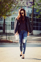 Leather Biker and Pacthed Denim