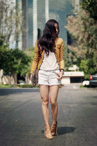 acne boots - leather Esprit jacket - Zara bag - Forever21 shorts