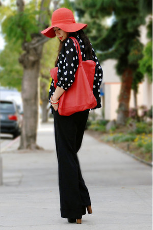 red floppy Urban Outfitters hat - red Zara bag - Jessica Simpson heels - polka d