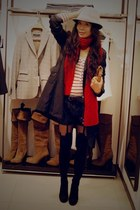 Zara coat - Zara shorts - Zara t-shirt - Head over heel boots - a&f scarf