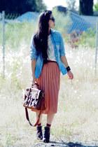 dark brown Zara boots - sky blue denim Zara shirt - dark brown warehouse bag - c