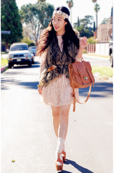 lace Forever21 dress - asos bag - from Target socks - headband Zara accessories