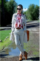 H&M boots - trench coat Anthropologie coat - Zara pants - thrifted blouse - Gap 
