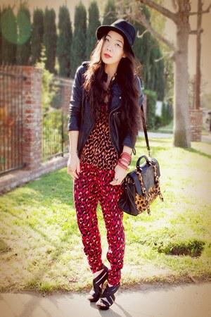 H&M hat - leather Zara jacket - asos bag - tank top H&M top - H&M pants - tory b